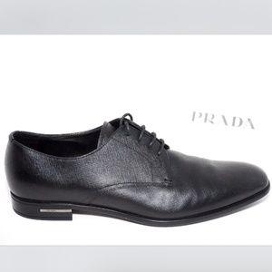 🆕PRADA Saffiano Almond Toe Lace Up Dress Shoe